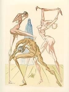 "Salvador Dali Divine Comedy woodblock engraving ""The Sodomites"""