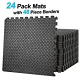 ZENY Exercise Mat with EVA Foam Interlocking Tiles and Edge Pieces Extra Think 3/4'' for Exercise, MMA, Gymnastics and Home Gym Yoga and Floor Protection 96 SQ.FT (24 Tiles,48 Borders)