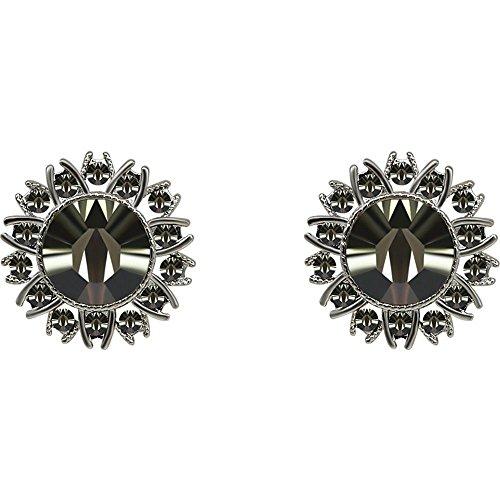 Crystal Daisy Piercing Earrings - Ling Studs Earrings Hypoallergenic Cartilage Ear Piercing Simple Fashion Earrings Ear Jewelry 925 Sterling Silver Daisy Rhinestone Stud Earrings Crystal Earrings, Brown