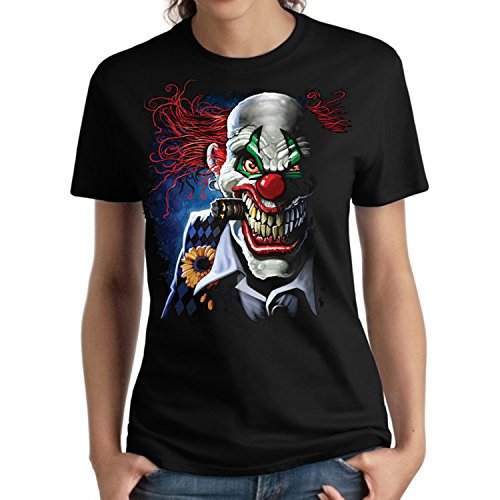 Evil Clown Ladies Shirt Smoking Joker Liquid Blue Women's Missy L-3XL (Black, 3XL) ()