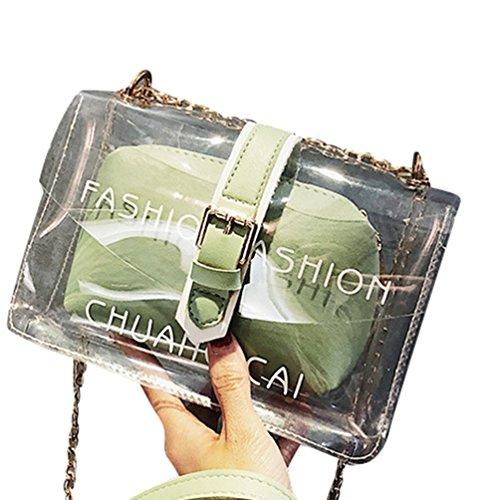 Transparente Mujer De Cadena Bolso Embrague Verde Crossbody Hombro Yaancun Para Bolso Billetera Bolsa De YqEwy8x