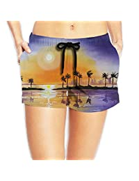 Sunset Beach Board Shorts Moistur Pants With Pockets For Womans White