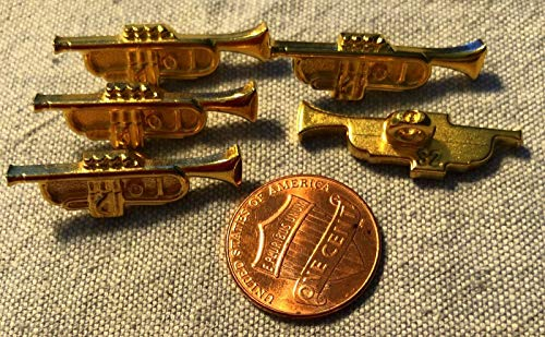 5 Gold Tone Plastic Trumpet Shank Buttons 1 1/8' 28.4mm Long Dill Brand # 9174