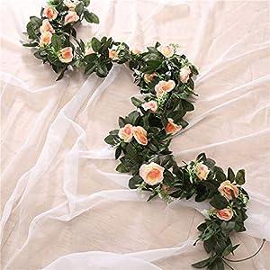 Artificial Rose Flower Fake Hanging Decorative Roses Vine Plants Leaves Garl Flowers Wedding Wall Decoration 5 9