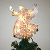 11 Inch Tall Stained Glass Look Gold Metal Lighted Angel Tree Topp (Small Image)