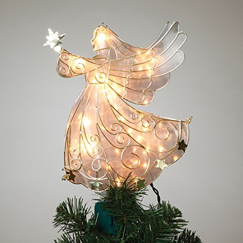 11 inch tall stained glass look gold metal lighted angel tree topp - Glass Christmas Tree Topper