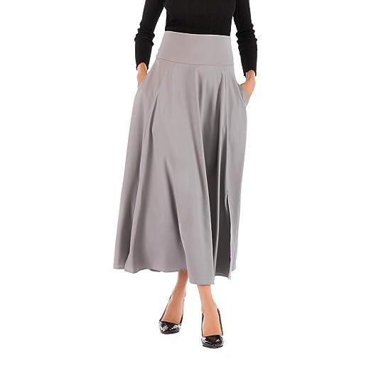 Lenfesh Falda vintage elegante, plisada con cintura alta.