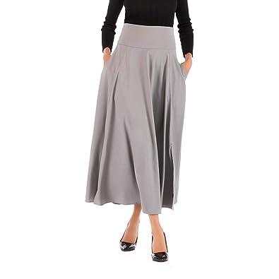 04a0f3f872ccff Jupe Femme, Manadlian Jupe Longue Taille Haute Plissée avec Poche ...