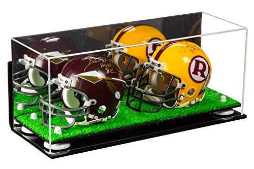 Better Display Cases 2 Mini Football Helmet Display Case (not Full Size) Clear Acrylic Plexiglass with Mirror, Wall Mount, White Risers and Turf Base (A019-WR) (Best Wr Football Cleats)