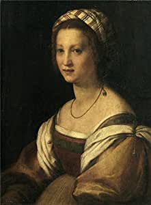 'Sarto Andrea del Retrato de mujer Ca. 1514 ' oil painting, 16 x 22 inch / 41 x 55 cm ,printed on Perfect effect canvas ,this Beautiful Art Decorative Canvas Prints is perfectly suitalbe for Gym decor and Home decoration and Gifts