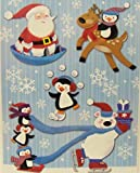 Christmas Reusable Window Clings ~ Animals and Santa Playing in the Snow (10 Clings, 1 Sheet)