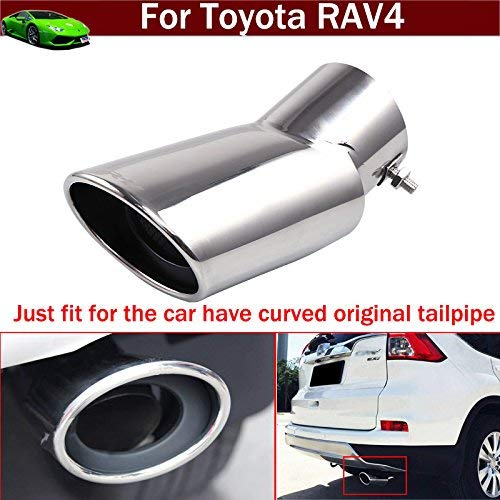 - OEM 1pcs Stainless Steel Exhaust Muffler Rear Tail Pipe Tip Tailpipe Extension Pipes Custom Fit for Toyota RAV4 2013 2014 2015 2016 2017 2018 2019 2020 (Just fit for The car Have Curved tailpipe)