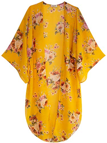 Design by Olivia Women's Open-Front Floral Print Kimono Cover Up Sheer Chiffon Loose Cardigan Mustard ()