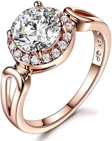 GULICX Jewelry Rose-Gold Base CZ Round White Stone Women Gorgeous Ring