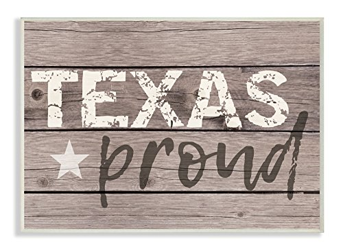 - The Stupell Home Décor Collection Texas Proud Typography Lone Star Wall Plaque Art, 10 x 15