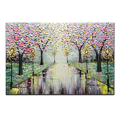 (Amei Art Paintings,24x36Inch 3D Hand-Painted Modern Abstract Street View Landscape Artwork Cherry Blossom Tree Oil Painting on Canvas Home Decor Wall Art Wood Inside Framed Ready to Hang)