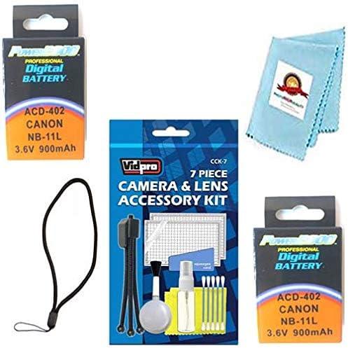 Microfiber Cleaning Cloth for Canon IXUS 125 HS IXUS 132 Screen Protector IXUS 180 IXUS 240 HS, Mini Tripod 2X Batteries Wrist Strap IXUS 135 IXUS 140 IXUS 175