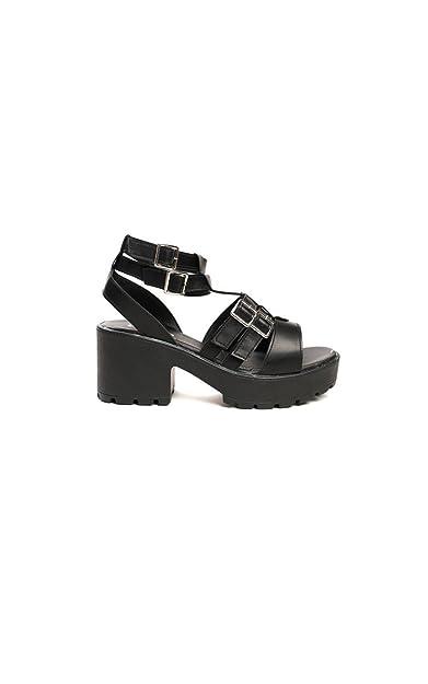 e0c305300060 Ikrush Womens Viola Chunky Double Buckle Sandals Black  Amazon.co.uk ...