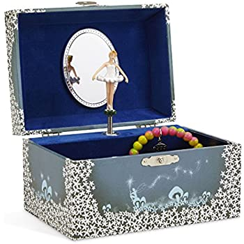 0ee7d9a27 JewelKeeper Girl's Musical Jewelry Storage Box with Twirling Fairy Blue and  White Star Design, Swan Lake Tune