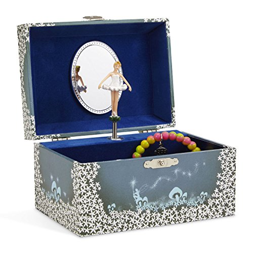 JewelKeeper Girl's Musical Jewelry Storage Box with Twirling Fairy Blue and White Star Design, Swan Lake (Ballerina White Trinket Box)