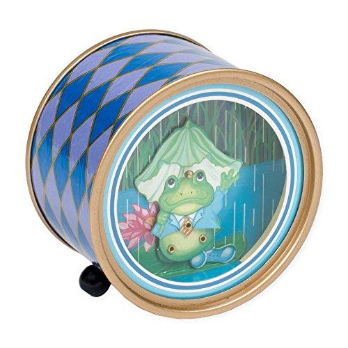 Splendid Music Box Co. Dancing Frog Blue Argyle Drum Shaped Musical Figurine Plays Singing in the Rain