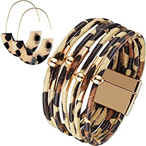 Hicarer Leopard Bracelets Leopard Tube Bracelet Multilayer Leather Cuff Bracelet and Boho Leopard Earrings for Women Girls