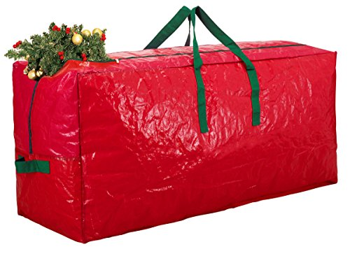 Artificial Christmas Tree Box - Zober Christmas Tree Bag - Artificial Christmas Tree Storage for Un-Assembled Trees up to 7' Tall with Sleek Zipper - Also Accommodates Holiday Inflatables | 48 x 15 x 20 (Red)