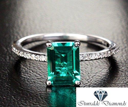 (14k Emerald Cut Emerald Engagement Ring 2.35 CT White Gold Diamond Pave)