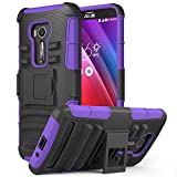 Zenfone 2 Laser Case, MoKo Shock Absorbing Hard Cover Ultra Protective Heavy Duty Case with Holster Belt Clip + Built-in Kickstand for ASUS Zenfone 2 Laser (ZE550KL / ZE551KL) 5.5 Inch - Purple