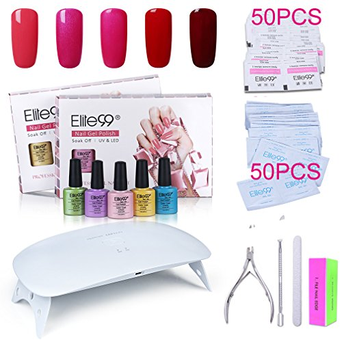 Elite99 Soak Off Gel Nail Polish Kit + SUNmini2 Plus 24W UV
