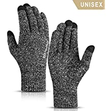 TRENDOUX Winter Gloves for Men and Women - Knit Touch Screen Anti-Slip Silicone Gel - Elastic Cuff - Thermal Soft Wool Lining - Stretchy Material