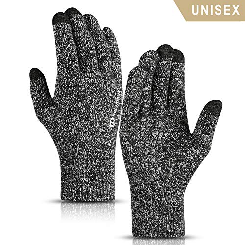 - TRENDOUX Winter Gloves, Knit Touch Screen Glove Men Women Texting Smartphone Driving - Anti-Slip - Elastic Cuff - Thermal Soft Wool Lining - Hands Warm in Cold Weather - Black White - M