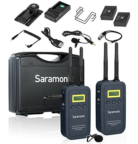 Saramonic VmicLink5 5.8GHz Hi-Fi Wireless Lavalier Microphone System with Bodypack Transmitter & Portable Receiver - for DSLR Cameras, Camcorders, Recorders & Mixers (High Fidelity Audio Transfer) -