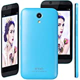 IPRO Unlocked 4 inch Bluetooth Android Smartphones 512M ROM+256M RAM Dual Core Dual SIM Card 2M Camera 1.3GHz 2G/3G GSM/WCDMA Wifi GPS IPS Screen Mobile Cell Phone w/ Battery+Cable+Charger-Blue