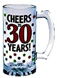 The Party Continuous 30th Birthday Party''Cheers to 30 Years'' Tankard, Red with Multi Colored Dots, 15 Ounces, Glass
