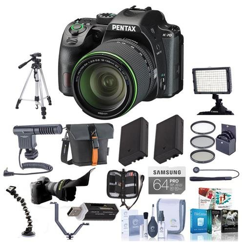 Pentax K-70 24MP Full HD DLR Camera with SMCP-DA 18-135mm f/3.5-5.6 ED AL DC WR Lens, Black - Bundle with 64GB SDXC U3 Card, 2x Spare Battery, Tripod, 62mm Filter Kit, Software Package and More
