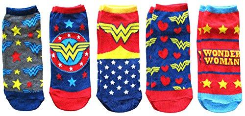 DC Comics Wonder Woman Classic Juniors 5 Pack Low Cut Ankle Socks,Red/Blue,4-10