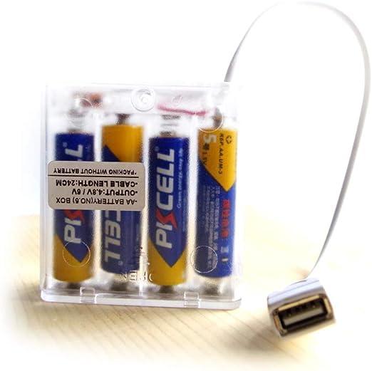 DANXQ Toma Hembra USB Caja Transparente de 4 Pilas AA Salida de 4.8 voltios o 6 voltios, con el Interruptor de Apagado: Amazon.es: Productos para mascotas