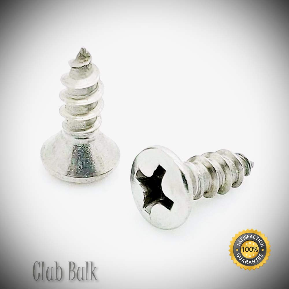 100 Qty #8 x 1//2 Oval Head 304 Stainless Phillips Head Wood Screws Good Holding Power in Different Materials - Durable and Sturdy BCP624