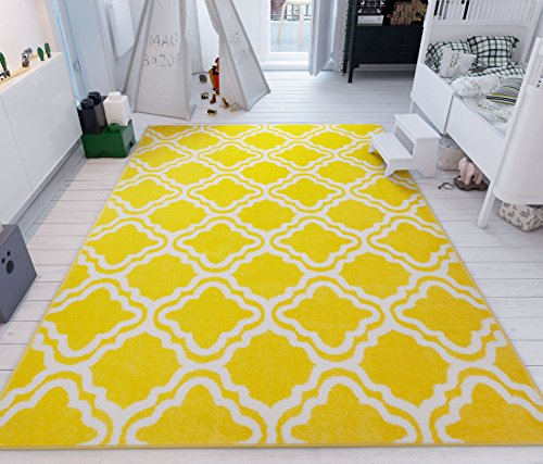 Modern Rug Calipso Yellow 7'10''X10'6'' Lattice Trellis Accent Area Rug Entry Way Bright Kids Room Kitchn Bedroom Carpet Bathroom Soft Durable Area Rug