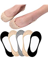 Ultra Low Cut Liner Socks Women No Show Non Slip Hidden Invisible for Flats Boat Summer 3/5 Pairs