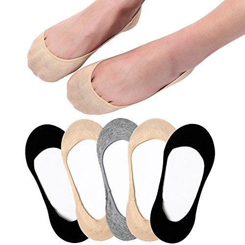 - Ultra Low Cut Liner Socks Women No Show Non Slip Hidden Invisible for Flats Boat Summer 5 Pairs
