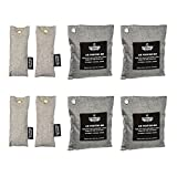 8 Pack - Charcoal Deodorizer Gym Bag & Shoe Odor Neutralizer Pack (4x 200g & 4x 50g), 100% Natural Chemical-Free, Bamboo Charcoal Air Purifying Bag, Unscented Bags by California Home Goods