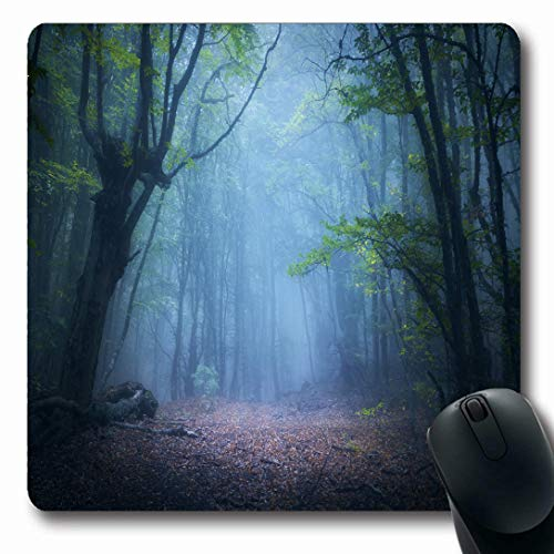 Ahawoso Mousepads for Computers Fairy Green Mystic Forest Fog Fall Woods Enchanted Autumn Spooky Nature Parks Magic Dark Scary Horror Oblong Shape 7.9 x 9.5 Inches Non-Slip Oblong Gaming Mouse Pad