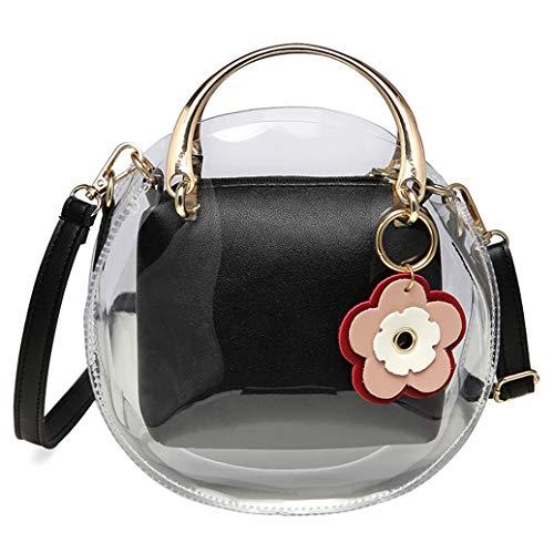 Forestfish Clear Crossbody Bag Purse Handbags Shoulder Tote Bag with Adjustable Shoulder Strap for Women or Grils Gift (Black)