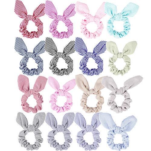 Cubaco 16 Pack Hair Scrunchies Rabbit Ear Bowknot Hair Bobbles Stripe Pattern Elastic Hair Bands Ponytail Holder For Girls Women
