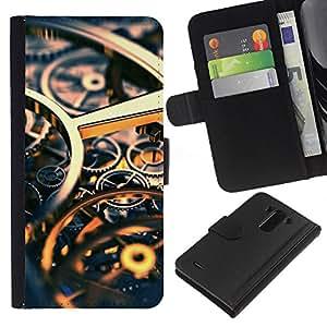 KLONGSHOP // Tirón de la caja Cartera de cuero con ranuras para tarjetas - Ingeniería Reloj Tiempo Oro Engranajes - LG G3 //
