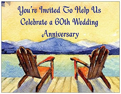 60th Wedding Anniversary Invitations - Adirondack Chair- 25/pk
