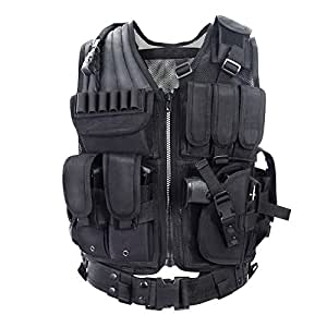 YAKEDA ®Army fans Tactical Vest CS Field Outdoor Equipment Supplies Breathable lightweight tactical vest SWAT Tactical Vest Special Forces combat training vest--VT-1063(black) by Yakeda