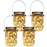 patio decor ideas Homeleo 4 Pack Vintage Outdoor Solar Mason Jar Light Set(Lid Lights/Mason Jars/Hangers Included),20 LED Warm White Fairy Firefly Glass Bottle Solar Lights Kit for Garden Yard Path Party Umbrella Decor